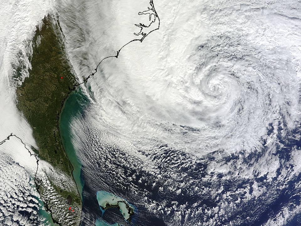 NASA MODIS image of Hurricane Sandy on 10/28/2012