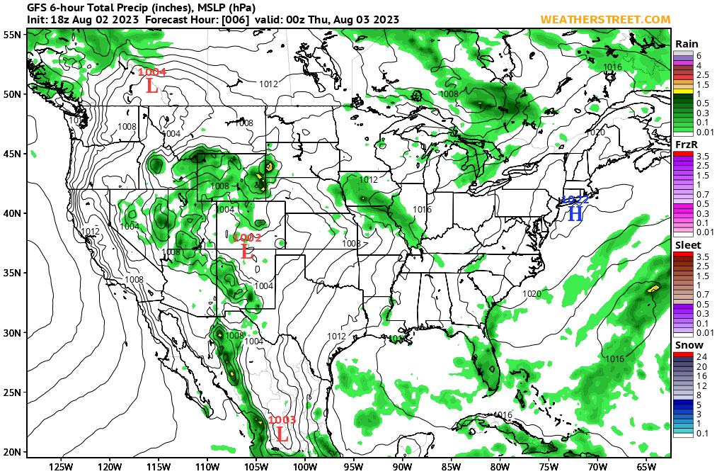 Surface Pressure and Precipitation (GFS 10-day forecast)
