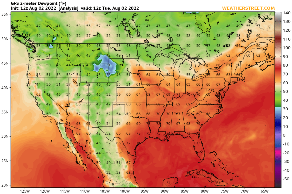 Surface Dewpoint Temperature (GFS 10-day Forecast)