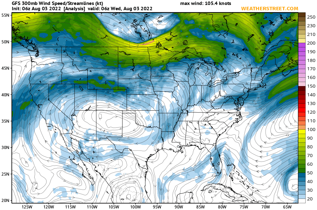 Jet Stream Winds At 300 Mb 30000 Ft Gfs 10 Day Forecast
