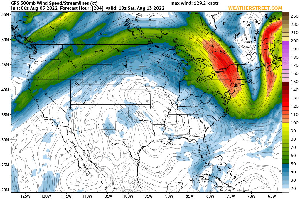 Jet Stream Winds at 300 mb (~30,000 ft) (GFS 10-day Forecast)
