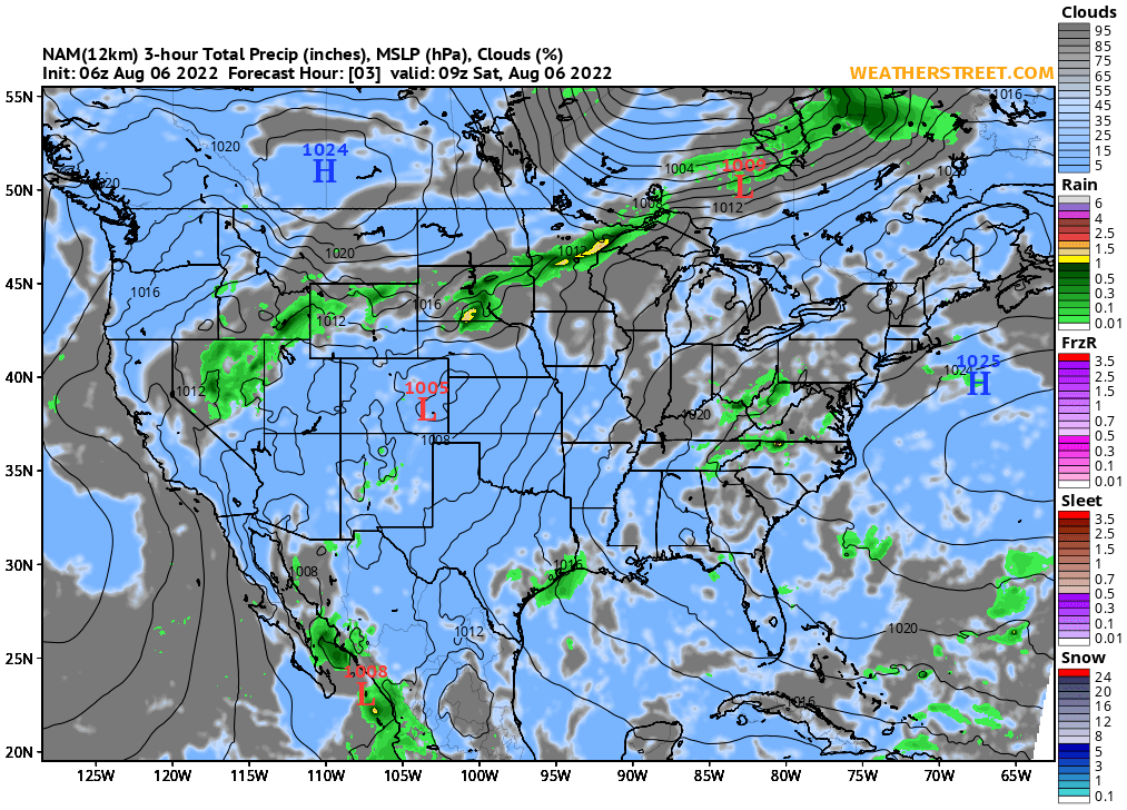 Surface Pressure Clouds And Precipitation Nam 3 Day Forecast - Us-cloud-map