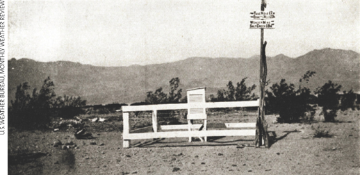 the hottest temperature in the U.S., 134 °F, was observed at Greenland Ranch, Death Valley, California, on July 10, 1913