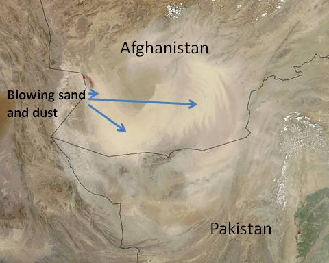 satellite image of a sandstorm in Afghanistan and Pakistan on August 24, 2010