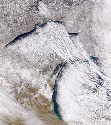 lake effect snow over Michigan as seen by NASA's SeaWifs satellite