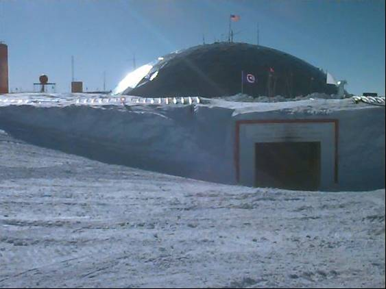 The South Pole Station, sitting on ice 2 miles thick. Photo credit:NASA/GSFC