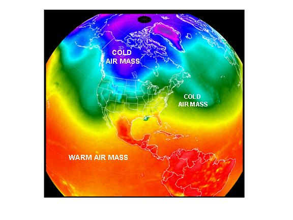 satellite view of cold and warm air masses