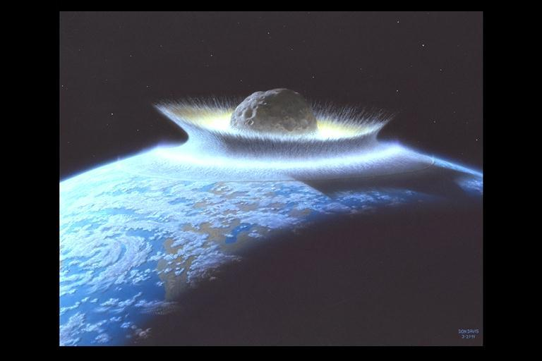 Artist's rendering of an asteroid hitting the Earth (NASA)