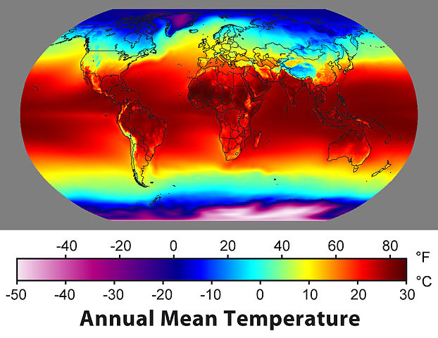 average surface temperature map of the world