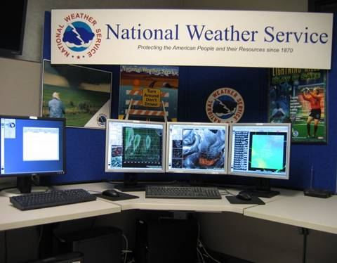 a National Weather Service AWIPS workstation
