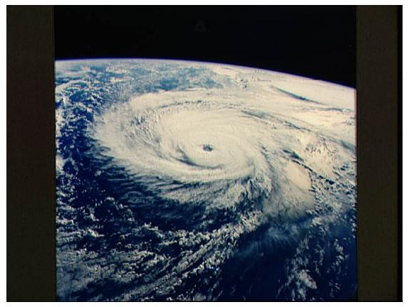 photograph of a hurricane taken from space (NASA)