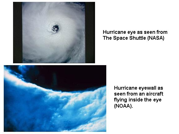 hurricane eyes seen from the Space Shuttle and from aircraft