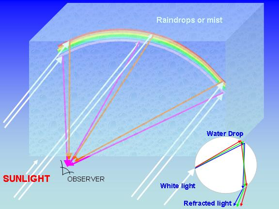 rainbows are due to the bending (refraction) of sunlight as it passes through raindrops and is then reflected back to the observer