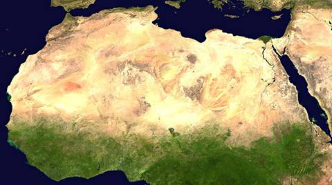 satellite image of the Sahara Desert