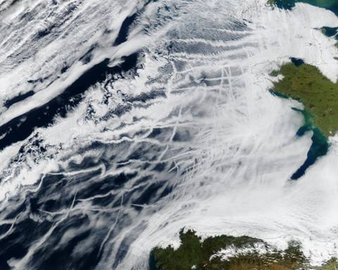 Satellite image of ship track cloud patterns