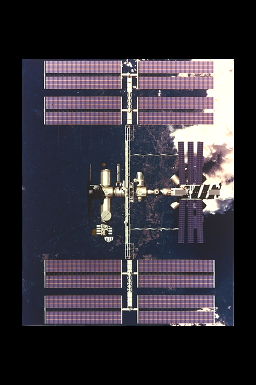 Solar panels of photovoltain cells power the Space Station