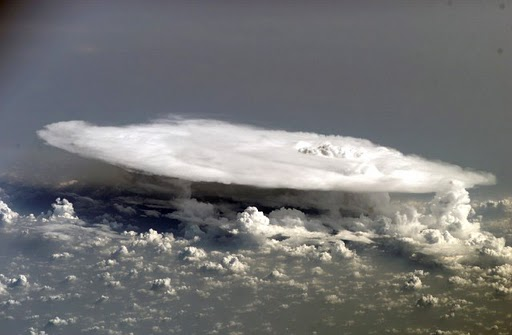 photo of a thunderstorm anvil cloud taken from the Space Station